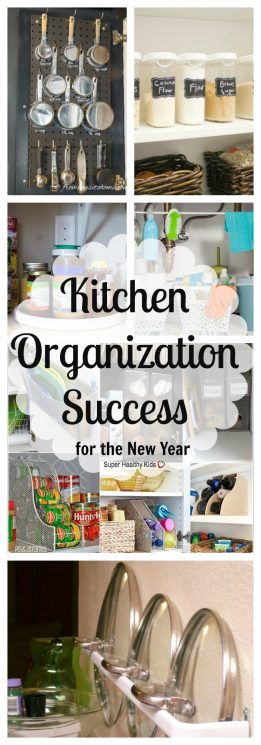 ORGANIZATION - Kitchen Organization Success for the New Year. The kitchen is a great place to start your New Year's organization journey to enjoy an inviting, clean, and decluttered work space all year long. https://www.superhealthykids.com/kitchen-organization-success-new-year/