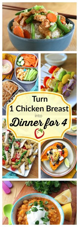 FOOD - Chicken Breast Challenge: Ten Ways to Feed a Family with 1 Chicken Breast. Satisfy meat-eaters in your family AND eat plenty of veggies, beans, and grains...all in the same meal. https://www.superhealthykids.com/chicken-breast-challenge-10-ways-to-feed-4-with-one-chicken-breast/
