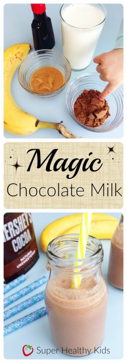 FOOD - Magic Chocolate Milk. Kids love this creamy, fruit-sweetened remake of chocolate milk that tastes--magically!--just like the store-bought variety. https://www.superhealthykids.com/magic-chocolate-milk/