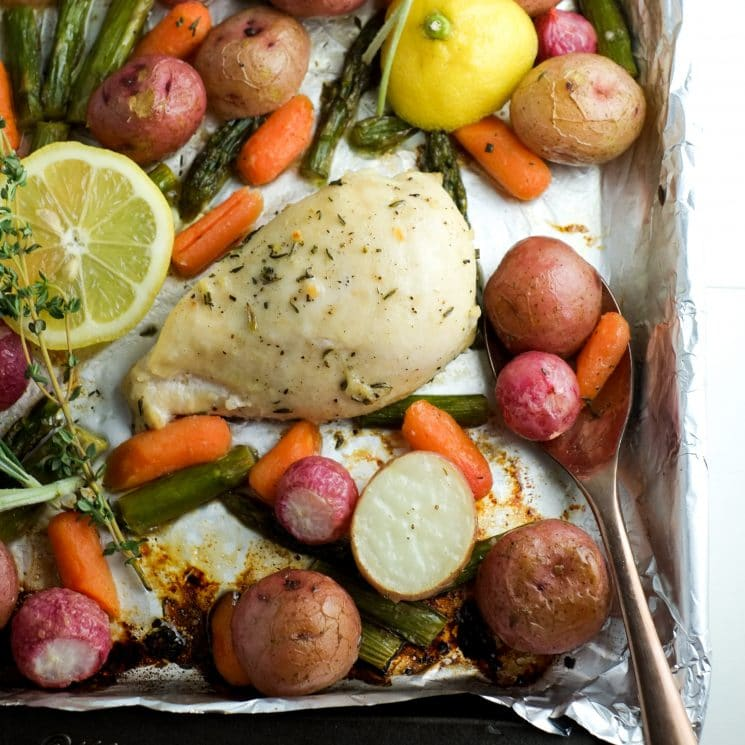 Sheet Pan Chicken and Spring Veggies Recipe | Super Healthy Kids | Food and Drink | Easy Weeknight Dinner