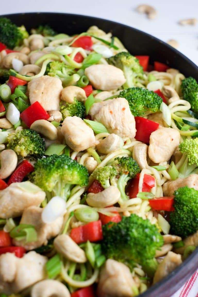 This cashew chicken is beautiful with zoodles!