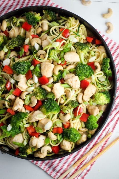 A heaping pan of cashew chicken ready to eat!