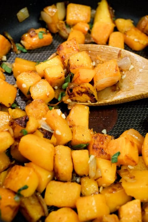 Sauteed butternut squash, onions, and fresh sage for a healthy and delicious sauce!