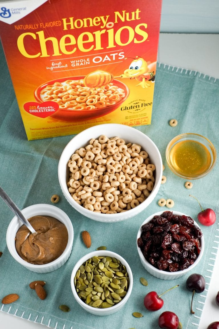 Fruity honey nut cheerios energy bites -- full of whole grains and protein.