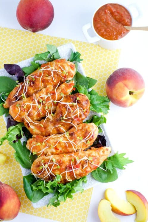Hellooooo summer! Peach BBQ chicken tenders - yum!