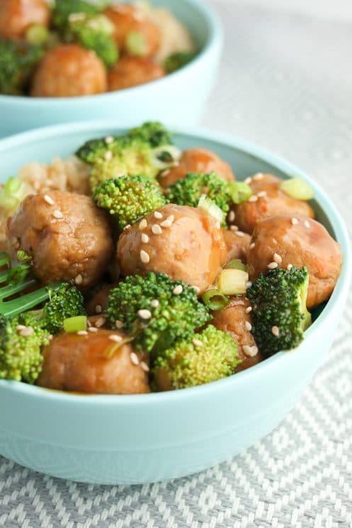 Tiny teriyaki meatball bowls are a family favorite.