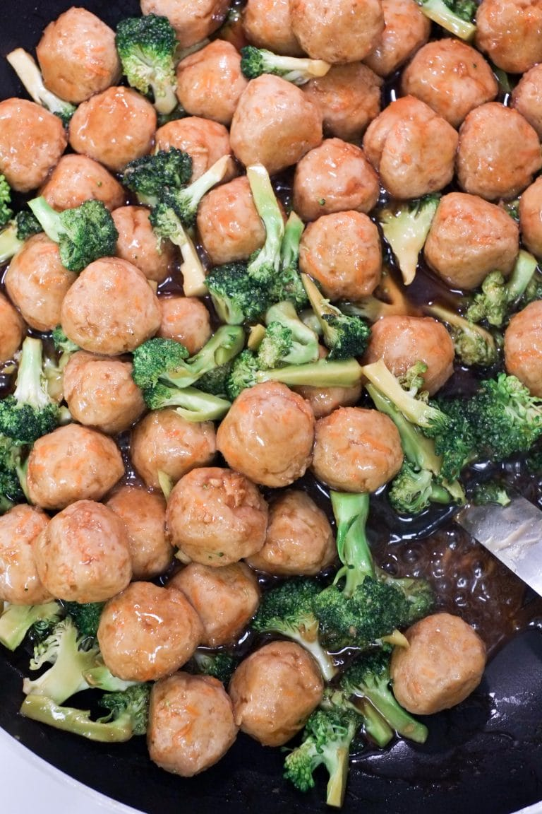 Quick stir fry of turkey meatballs and broccoli with homemade teriyaki sauce for the WIN!
