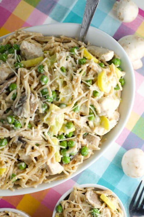 Tetrazzini always includes mushrooms, plus we added squash and peas!