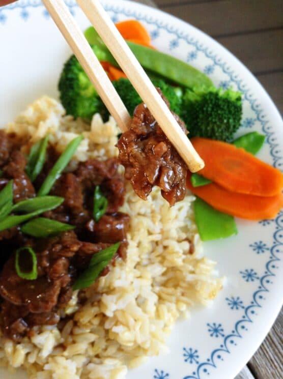 mongolian beef on chopstick