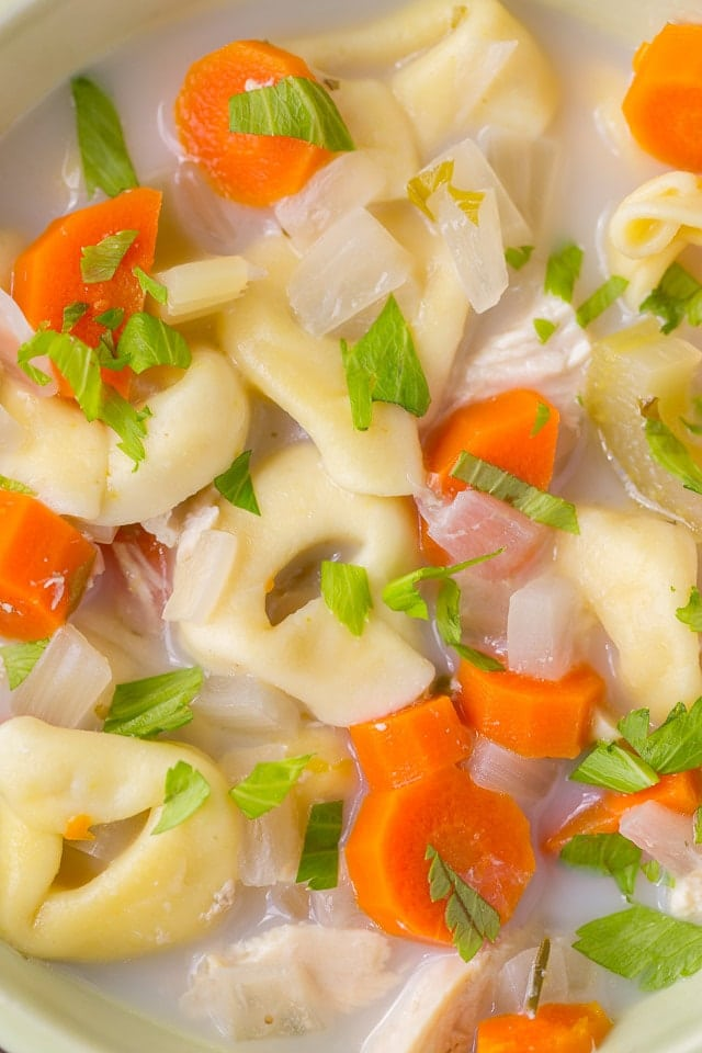 Easy to make Healthy Slow Cooker Creamy Tortellini Soup