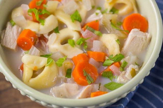 Healthy Creamy Tortellini Soup made in the slow cooker