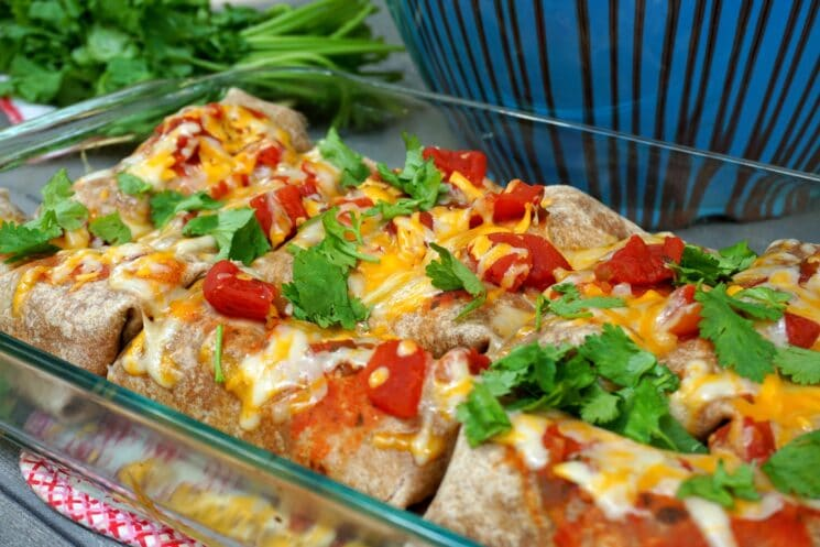 baking dish of burritos