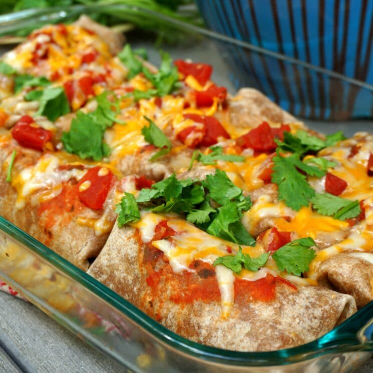 Feed a Crowd Healthy Beef and Bean Burritos in a Baking Pan