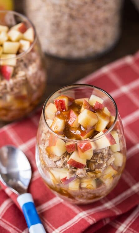 Caramel Apple Overnight Oats for kids