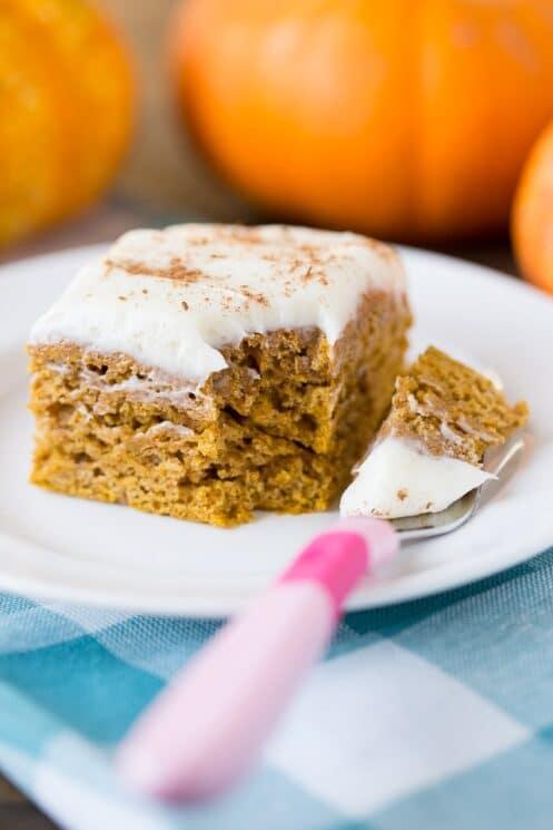 Healthy Pumpkin Spice Cake with greek yogurt frosting