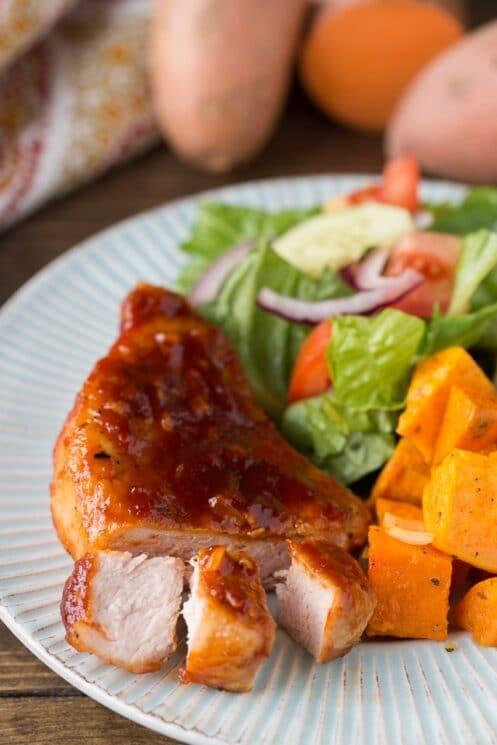 Kid Approved Maple Glazed Pork Chops with sweet potatoes