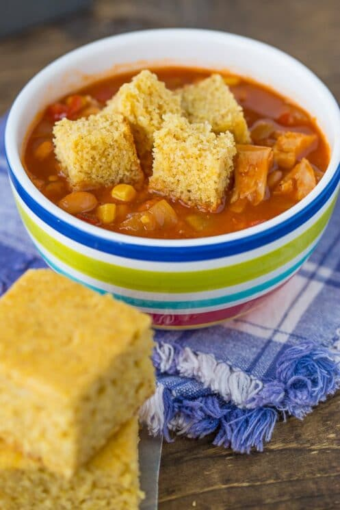 Spiced Cornbread and soup
