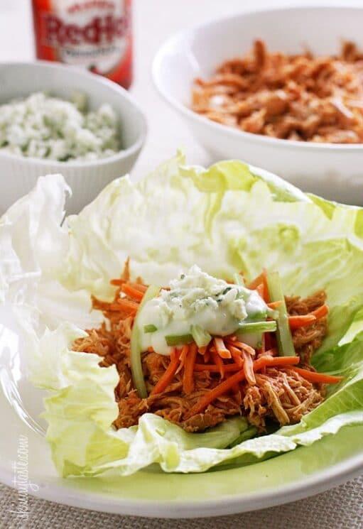 Healthy Instant Pot Appetizer Buffalo Chicken Lettuce Wraps