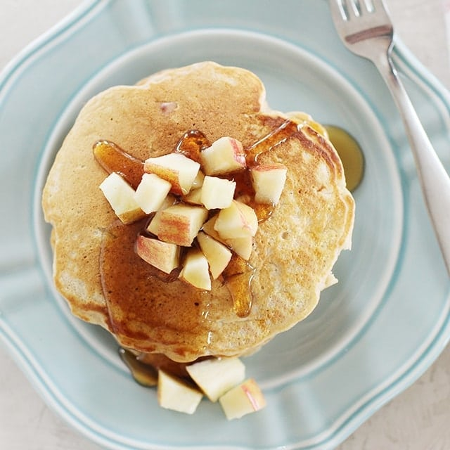apple pancakes with diced apples on top
