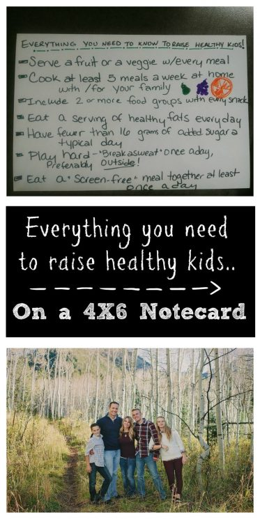 Everything you need to know to raise healthy kids on a 4 X 6 notecard