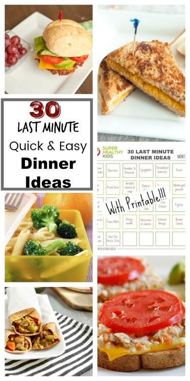 These 30 last minute dinner ideasand recipes will last you ALL MONTH!! Printable for your fridge