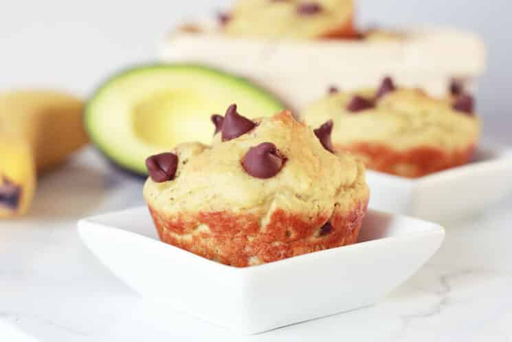 avocado chocolate chip muffin in a small white dish