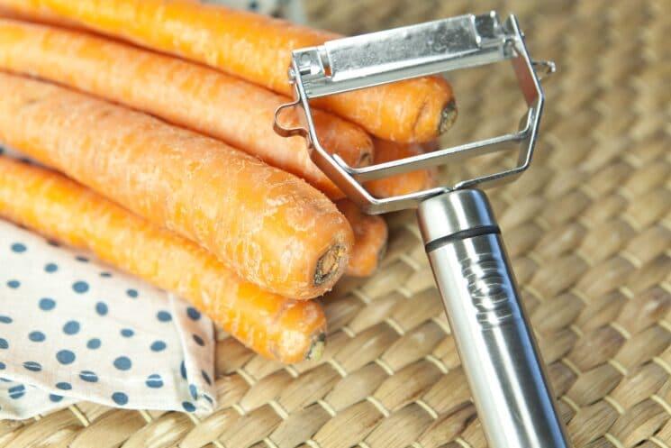peeling carrots for carrot chips, Easy Carrot Chips