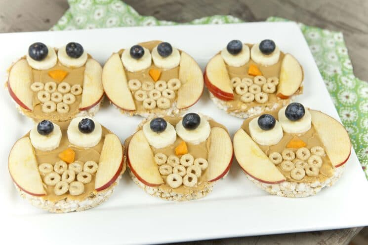 healthy snacks and fun food, Fun Food For Kids: Owl Rice Cakes, peanut butter and fruit