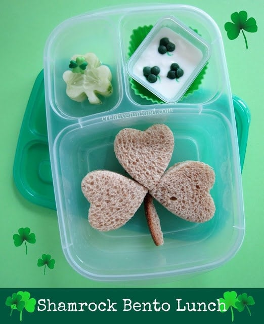 20 Fun and Healthy Food Ideas to Celebrate St. Patrick's Day, clover shaped sandwich and lunch