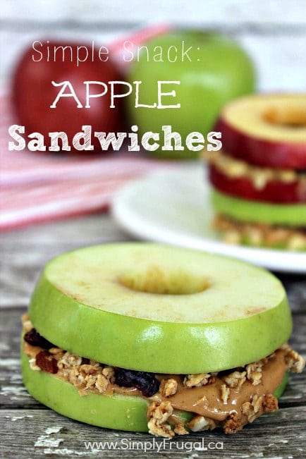 20 Fun and Healthy Food Ideas to Celebrate St. Patrick's Day, apple sandwiches with peanut butter