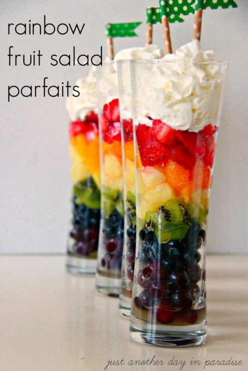 Rainbow Fruit Salad Parfaits for St. Patrick's Day Fun Food, 20 Fun and Healthy Food Ideas to Celebrate St. Patrick's Day
