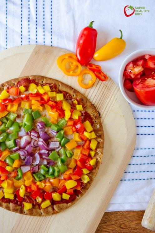 Rainbow Pepper Pizza Healthy St. Patrick's Day Ideas