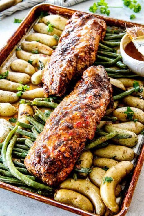 Healthy Dijon Pork Tenderloin and Veggies Sheet Pan Dinner, pork, asparagus, vegetables