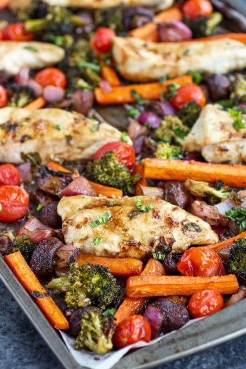 Healthy Sheet Pan Balsamic Chicken Veggie Bake Dinner, veggies and chicken, tomatoes, carrots, beats, broccoli