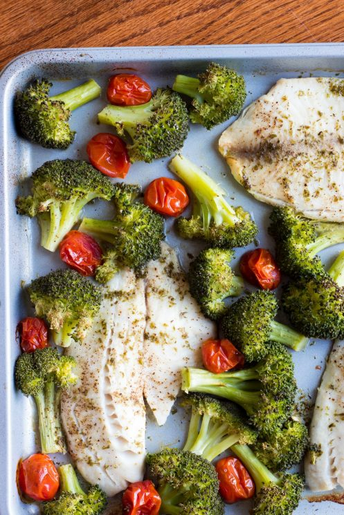 Roasted Tilapia and Broccoli Sheet Pan Dinner with broccoli and tomatoes and tilapia