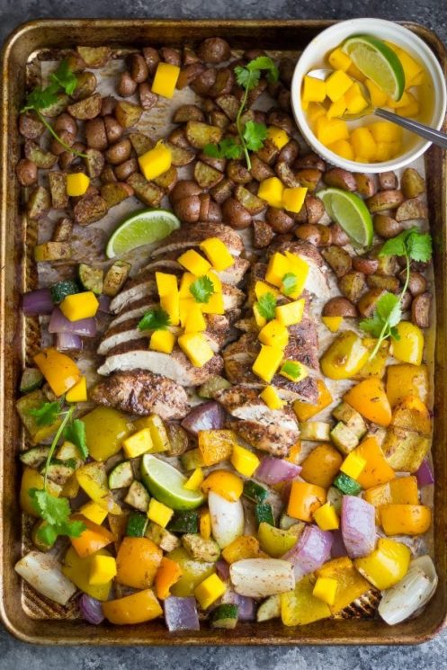 Jamaican Chicken Sheet Pan Dinner with veggies