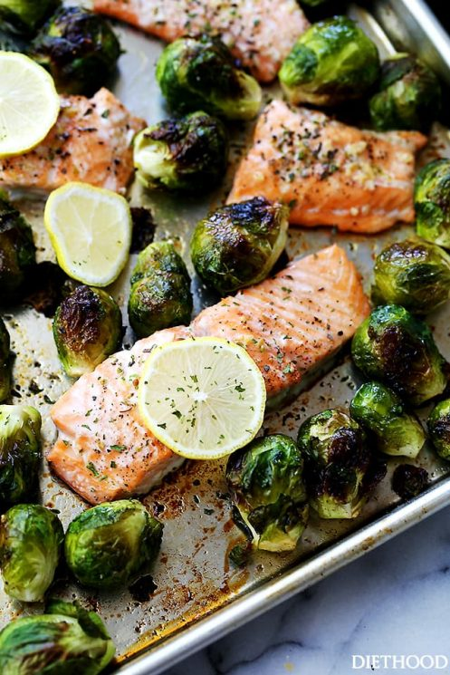 One Sheet Pan Garlic Roasted Salmon with Brussels Sprouts Dinner Recipe