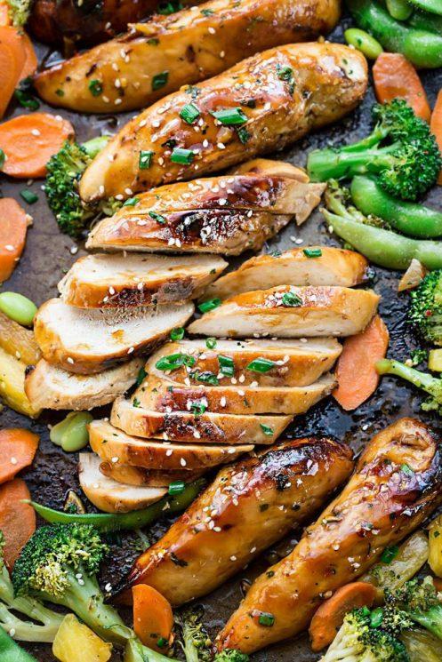 sheet pan dinners, chicken, broccoli, veggies