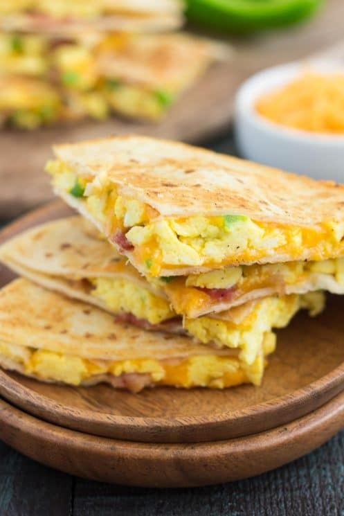 Quick Breakfast Quesadillas Cut Into Triangles