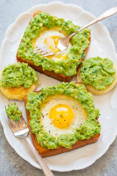 Egg in a hole avocado toast quick breakfast