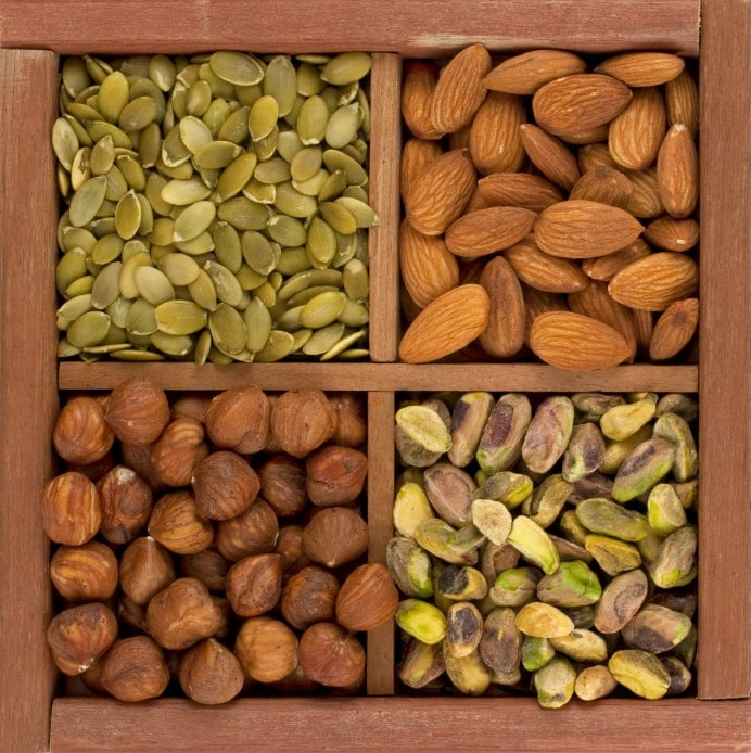 pumpkin seeds, almonds, hazelnuts, pistachios healthy plant based protein snacks