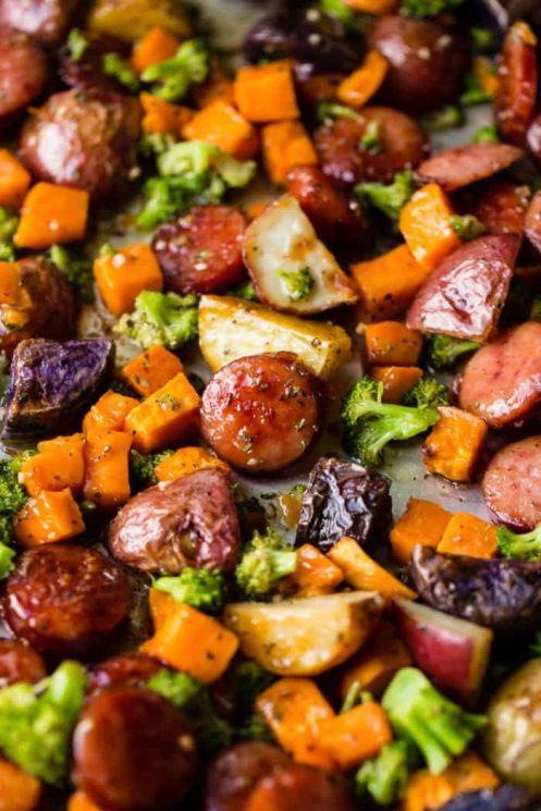 Sheet Pan Honey Garlic Kielbasa Recipe, potatoes, carrots, broccoli