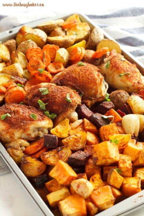 Paprika Sheet Pan Dinner Recipe with veggies