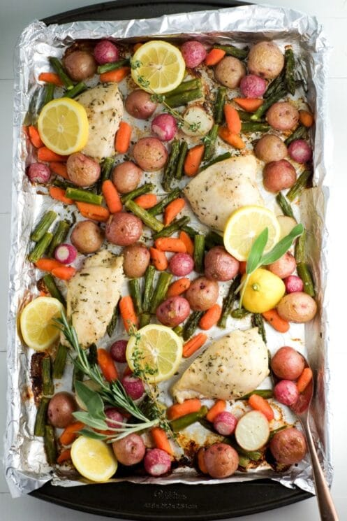 Healthy Sheet Pan Dinner for Kids chicken, potatoes, carrots, asparagus, lemons