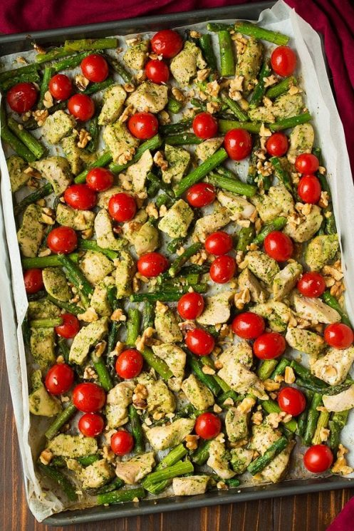 Sheet Pan Pesto Chicken Asparagus and Tomatoes