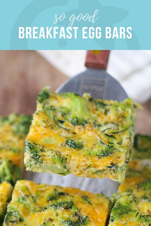 Square egg bar with broccoli and zucchini on a spatula. Breakfast Egg Bars.