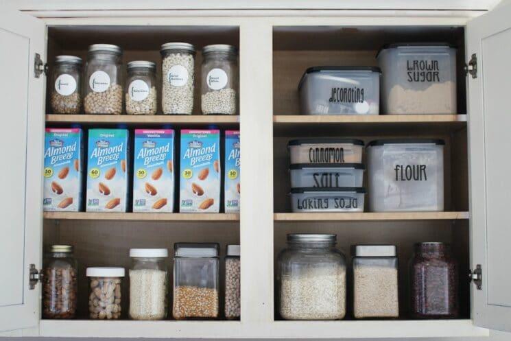 Shelf Stable Almond Milk in a Cupboard