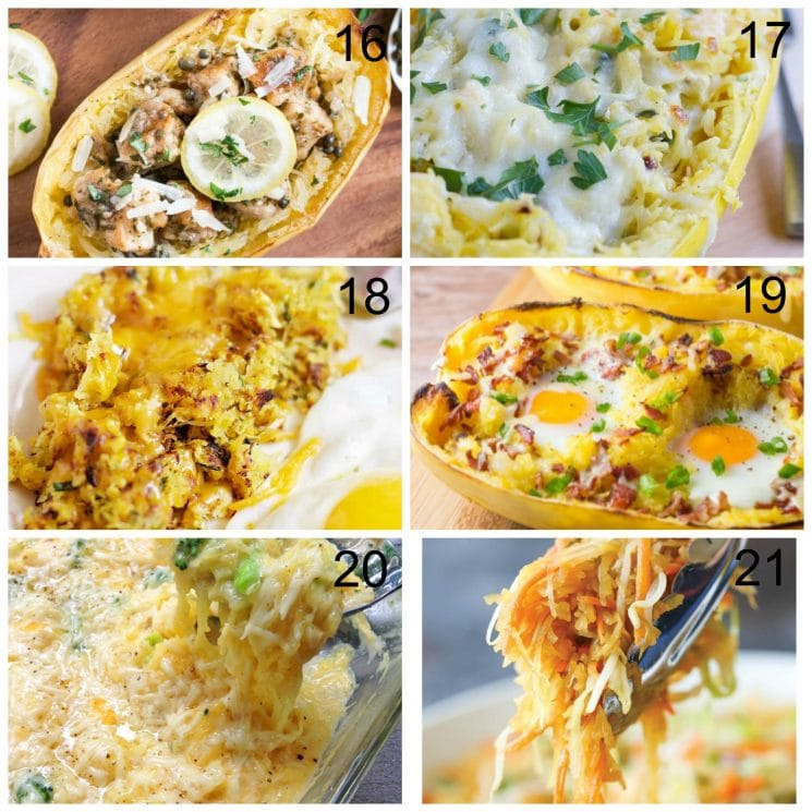 21 Best Spaghetti Squash Recipes. Six different recipe collage.