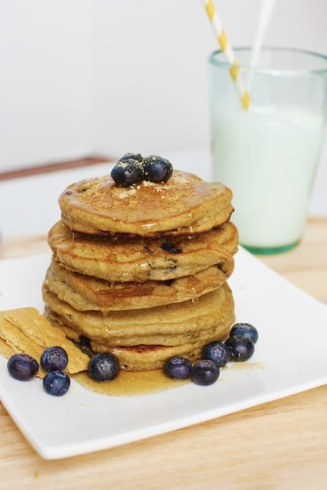 Blueberry Pancakes with Graham Cracker Crumb