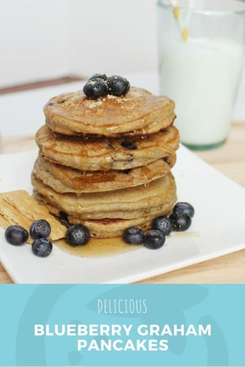 Delicious blueberry graham pancakes for kids